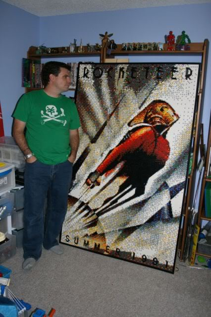 Dave Ware with Lego Mosaic of The Rocketeer