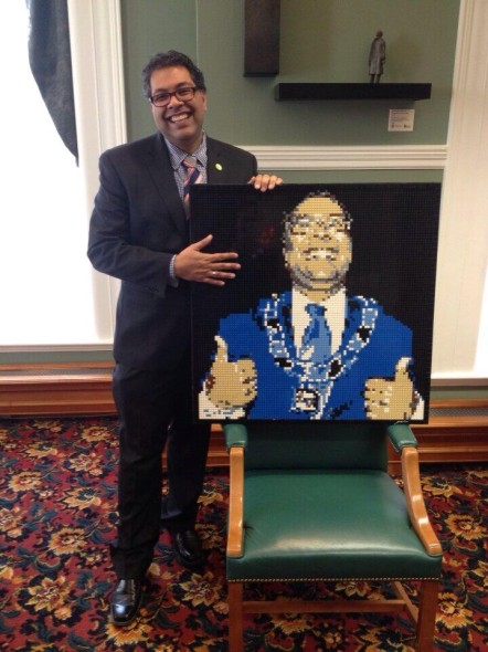 Mayor Nenshi with Lego mosaic portrait by Brickwares