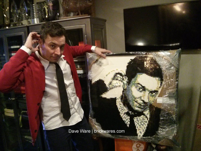 Jimmy Fallon with Brickwares Lego Mosaic