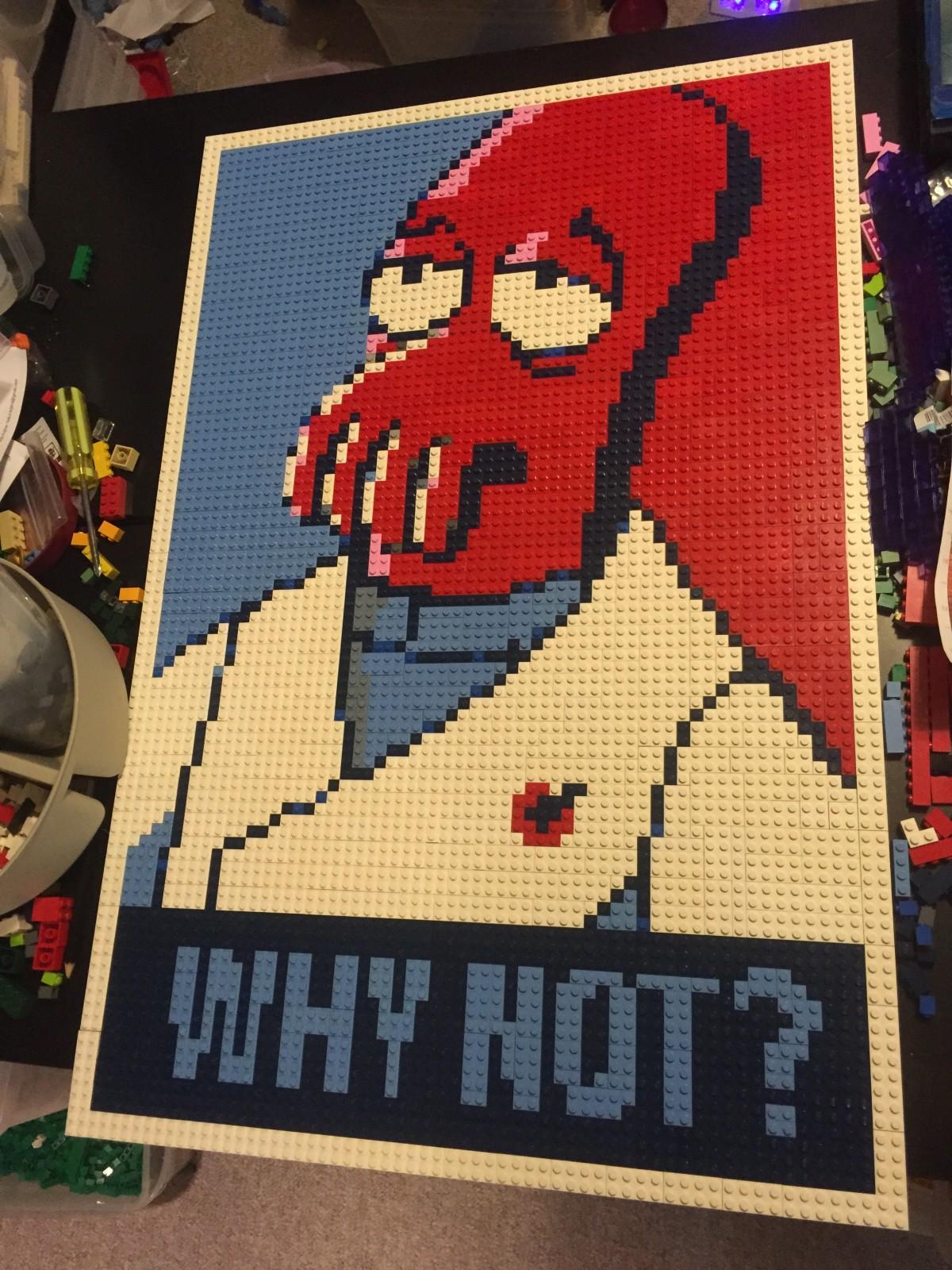 Zoidberg, a Lego Mosaic by Dave Ware (Brickwares)