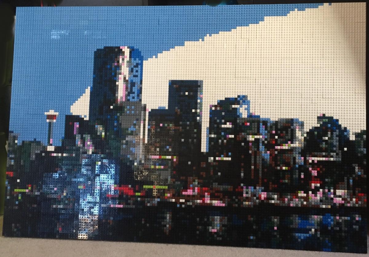 Calgary Skyline Lego Mosaic by Dave Ware (Brickwares)